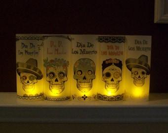 Day of the Dead - Vellum Luminarie Collection - Dia De Los Muertos - SUGAR SKULLS - Skull Lantern - Luminary - Luminaria (5)