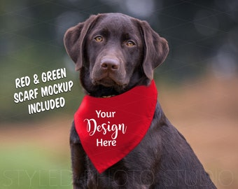 Download Free Holiday Dog Scarf Mockup, Pet Neck Tie for Vinyl Design, Blank Scarf for Sublimation PSD Template
