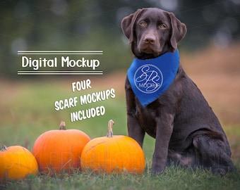 Download Free Dog Scarf Mockup, Pet Neck Tie for vinyl design, Blank Scarf for sublimation PSD Template