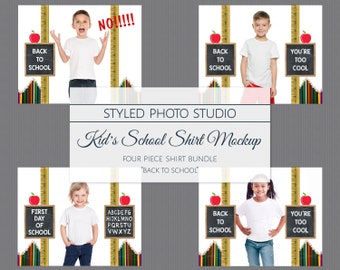 Download Free Back to School Tshirt Mockup Bundle, TShirt Mockup Set, Your Design Here PSD Template