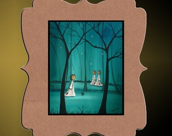 Whimsical Art Creeper Character Print - Forest Deep - 8x10 - Bare Trees - Hedgehog - Owl - Art  Print Giclee