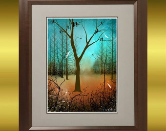 Contemporary Art Bare Tree Print -- Blackbirds and Dragonflies