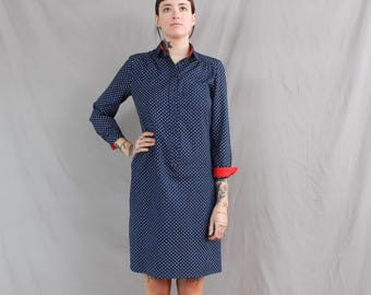 1980's Blue and Red Business Casual Dress in Polyester . Shift Block Dress . Large Plus Size Cuffs Cuffed . Collared Dress