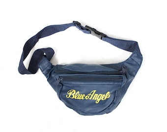 1980's BLUE ANGELS Fanny Pack . Vinyl Faux Leather . EAA Air Show . Aviation Enthusiast or Hipster . Fannie Pack Waist Purse . Super Rare