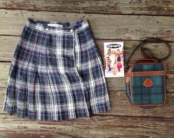 Vintage Grab Bag! AS IF Starter Pack - Clueless, 90's Limited Tartan Plaid Mini Skirt, Preppy Purse