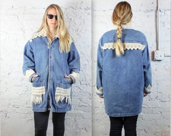 90's Denim and Macrame Oversized Jacket by Calvin Klein . Hemp Crochet Jean Jacket with Pockets and Fringe . 1990s Retro Jean Coat