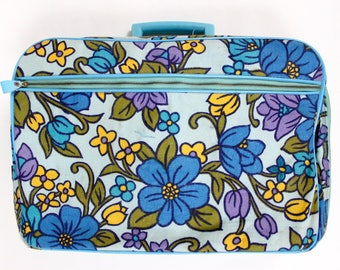 1970's Micro Floral Suitcase in Aqua Blue Violet and Marigold Retro Mini Small Case Luggage Japanese Kitsch Home Decor 70s 60s 1960s