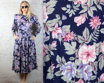 80's Sister Wives Floral Midi Dress with Pockets and Mega Shoulders in Women's Medium . Navy Pink Rose Flowers Violet Purple Shoulder Pads