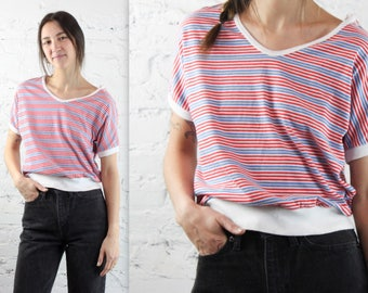 80s Striped Knit Oversized Baggy V Neck Tee in Women's Medium with Fitted Waist . Button Up Sleeve Red White Blue Patriotic Nautical Summer