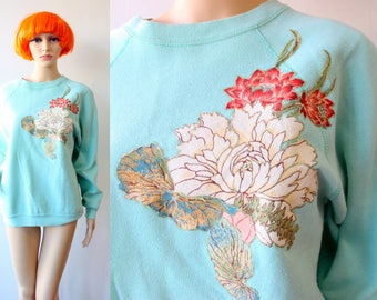 80s Floral Japanese Applique Sweater in Women's Medium or Large with Glitter Paint . Oversized Slouchy Baggy Handmade Green Blue Seafoam