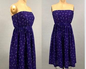 1970's Purple Floral Halter Dress