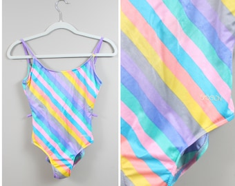 80s  90s Rainbow Square Dot Swimsuit  Bodysuit  Movers  Made in USA  Medium  Leotard  Body  Pop Art  New Wave  Allover Print  M