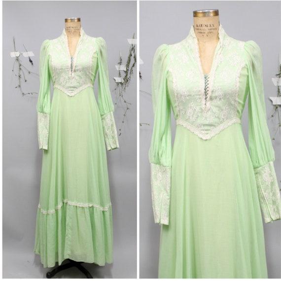 1970's Mint Green Victorian Maxi Dress
