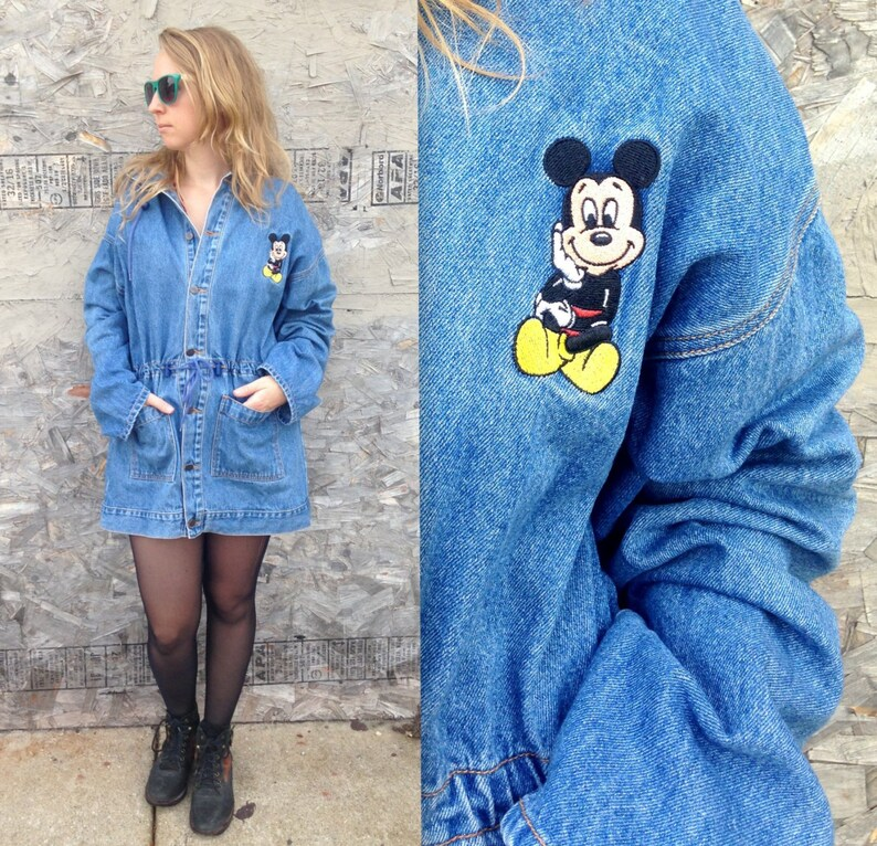 highly coveted range of new cheap new authentic 90's Mickey Mouse Denim Jacket / Jean Jacket / Dress Coat / Cinched Waist /  Bungee / Hooded / Extra Long / Medium Large / Oversized Cartoon