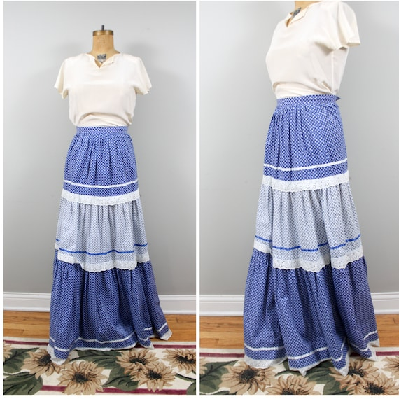 tiered calico maxi skirt