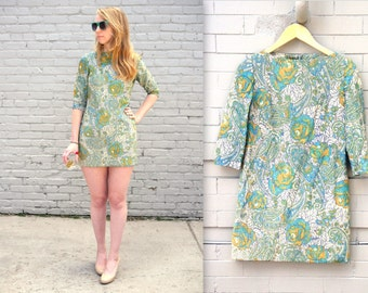 1970's SHIMMER go-go dress in xxs xs sparkles paisley floral / megan draper / mini mod go go twiggy edie sedgwick / factory girl