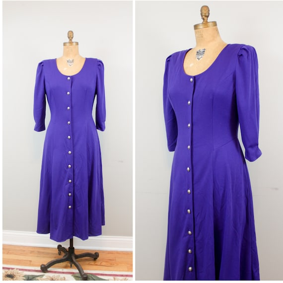 regal purple button up dress
