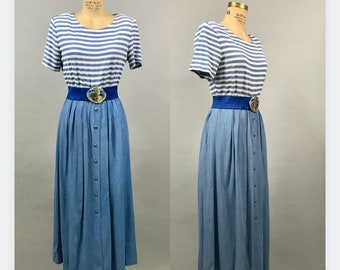1980's Blue and White Mesh Shirtdress