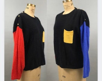 1980's Color Block Lambswool and Angora Sweater