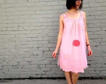 1960's Pink Floral Slip in nylon women's medium or small flowy dress virgin suicides sexy lingerie summer spring lightweight breezy red