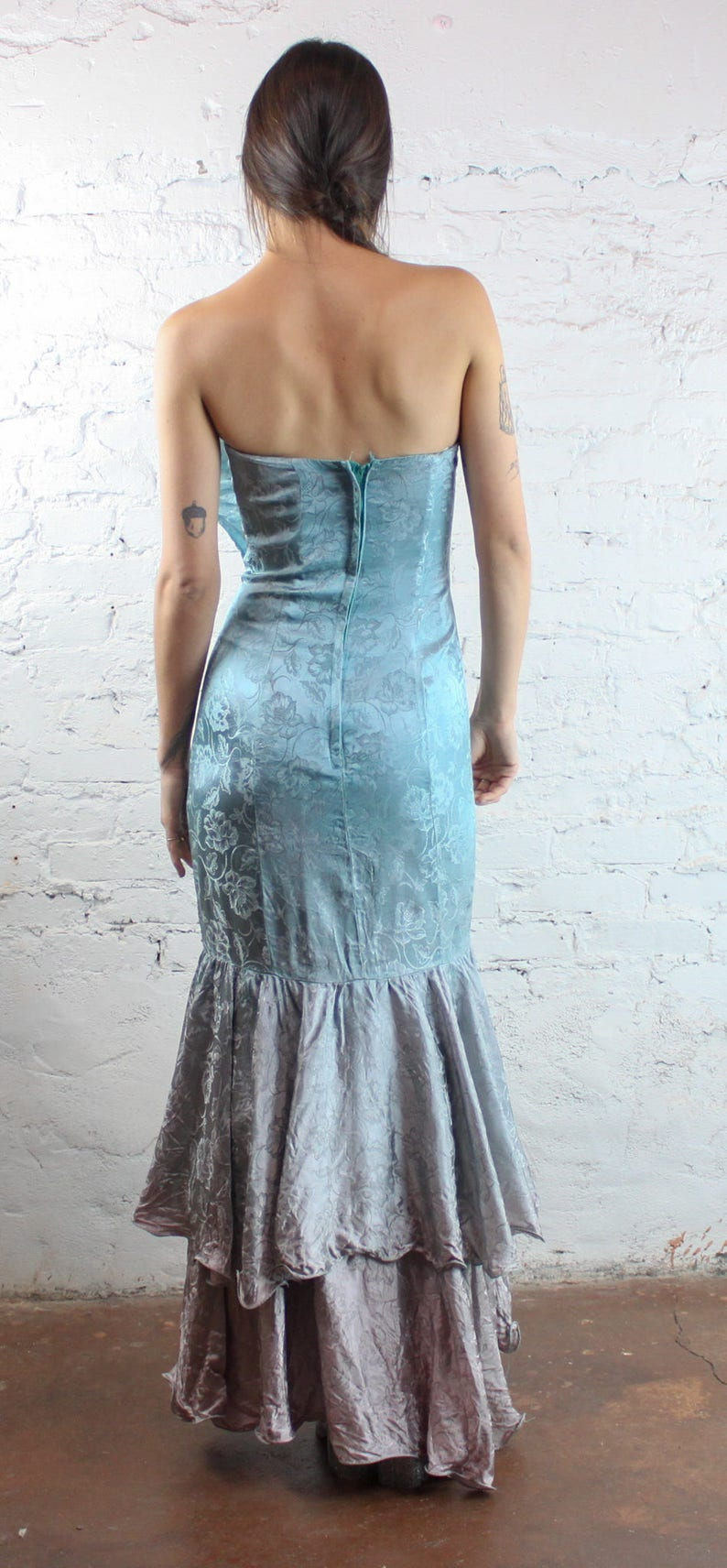 ac3ed8b89b59 80's Hand Dyed Mermaid Fishtail Prom Dress in XS Faded | Etsy