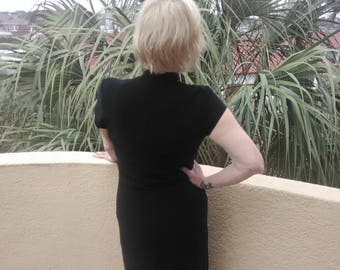 Black Knit Cheongsam Style Dress