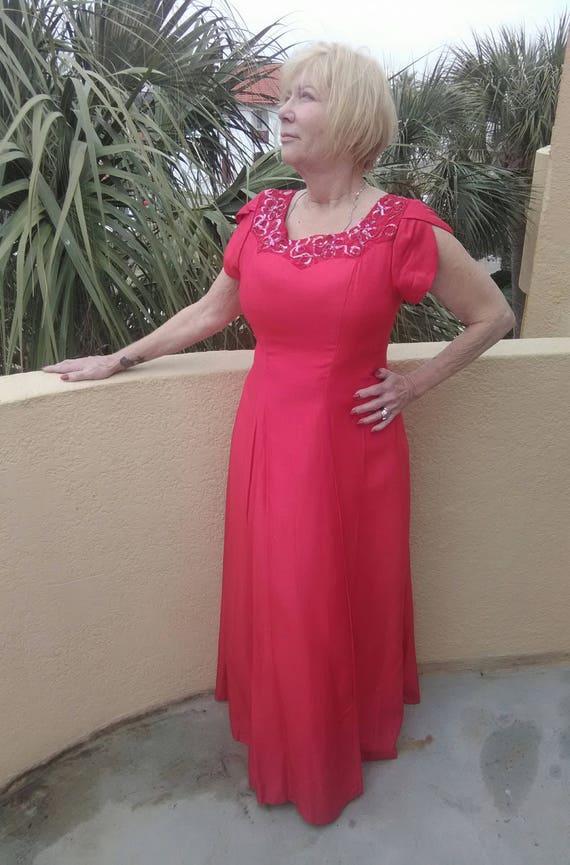 1960s Silk Formal Dress- Volup - image 1