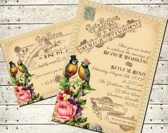 Tallulah - Vintage Victorian Love Birds and Roses - Printable DIY Wedding Invitation Suite - Customized Wedding Invitation