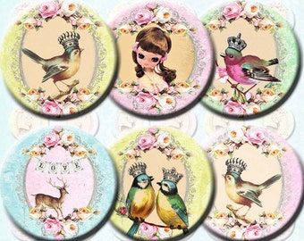 INSTANT DIGITAL DOWNLOAD - Big Eyed Pose Dolls Bird Queens and Deer - Printable 1 Inch Circles - Jewelry - Vintage Victorian Mod Retro