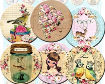 INSTANT DOWNLOAD - Whimsical Girly Things - Fairytale Collage Sheet - 1 Inch Circles - Pose Dolls  Birds  Deer  Fairies  Queens - Jewelry
