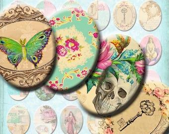 INSTANT DOWNLOAD Antique Wallpaper Vintage French Ephemera - Digital Collage Sheet - Victorian Skulls Birds Butterflies - 30 x 40 mm Ovals