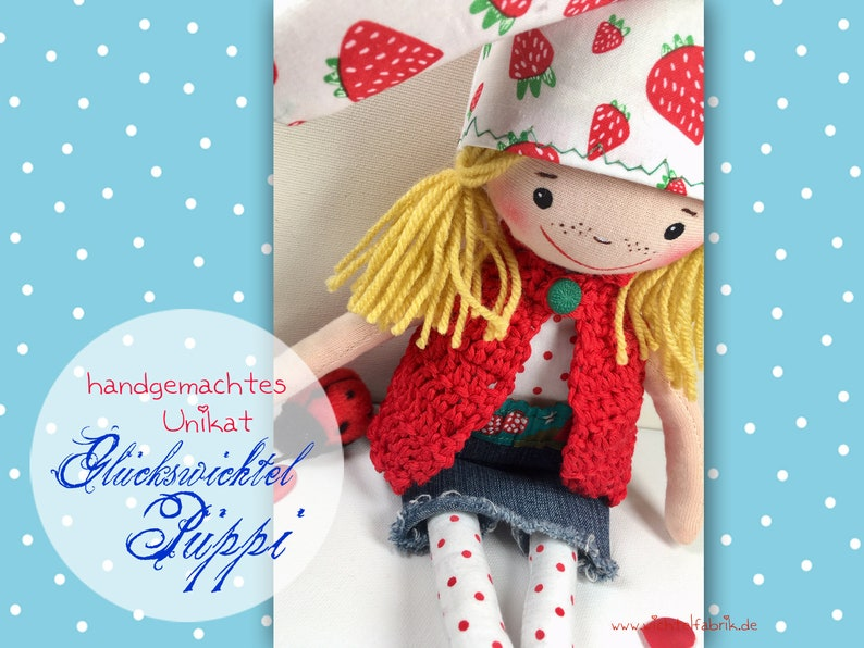 Lucky Swimmer Püppi EMILY  handmade one-of-a-kind  rag doll image 0