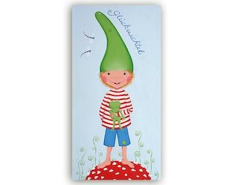 Postcard lucky elf Boy light blue-green