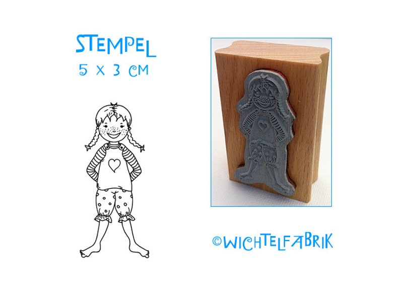 Stamp Naughty Girl  Wood Stamp  for Kids  image 0