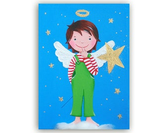 Postcard Angel Young Turquoise-Green with Star