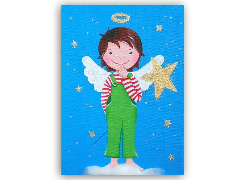 Postcard Angel Young Turquoise-Green with Star image 0