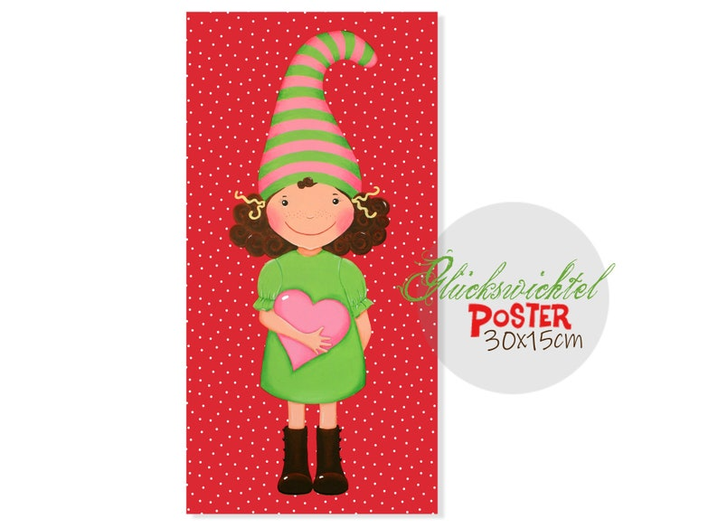 Mini-POSTER 30 x 15 cm Lucky Imp red dotted  nursery image 0