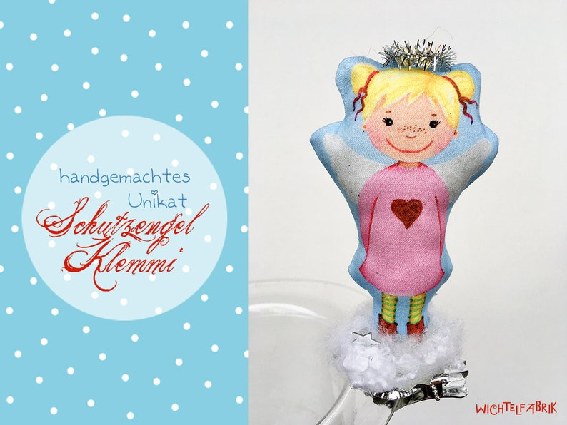 Protective angel Klemmi ROSI  angel decoration  lucky charm image 0
