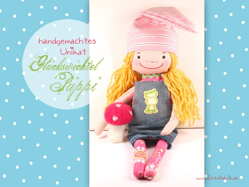 Lucky swimmer Püppi LINA  handmade one-of-a-kind  rag doll  image 0