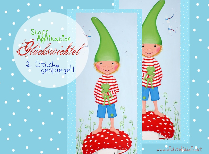 Wichtel fabric piece boy light blue-green with frog  double image 0