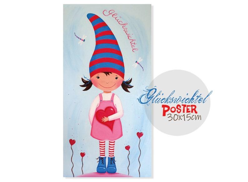 Mini-POSTER 30 x 15 cm Lucky Imp light blue-pink  nursery image 0