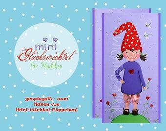 2 MINI Wichtel fabric violet-red * 1 motif (each 2) * lucky impeach * applique * fabric * cotton
