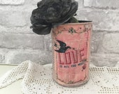 Distressed Recycled Painted Pink Tin Can Pencil Holder Shabby Chic Tin Can Storage Planter Vase Gift for Her Under 10 Cottage Decor