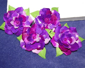 Raspberry and Purple Variegated Paper Flowers with Light Green Leaves, Hadmade Millinery Embellishments for Crafts or Scrapbooking