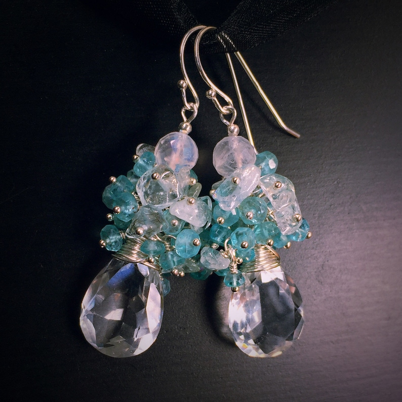 Healing Jewelry Apatite /& Aquamarine Rock Crystal Drop Earrings Rainbow Moonstone March Birthday Gift for Her Sterling Silver Earrings