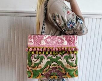 Vintage velvet tote bag in pinks and greens