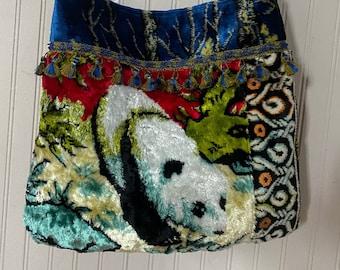 Upcycled velvet tapestry crossbody bag with a Panda