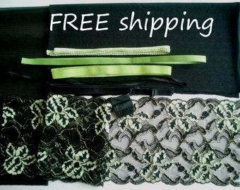BRA Kit Black & Green Gold Lace FREE Shipping by Merckwaerdigh