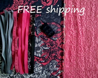 LINGERIE Kit Mixed Navy & Pink Lace for 1 BRA + Panty FREE Shipping by Merckwaerdigh