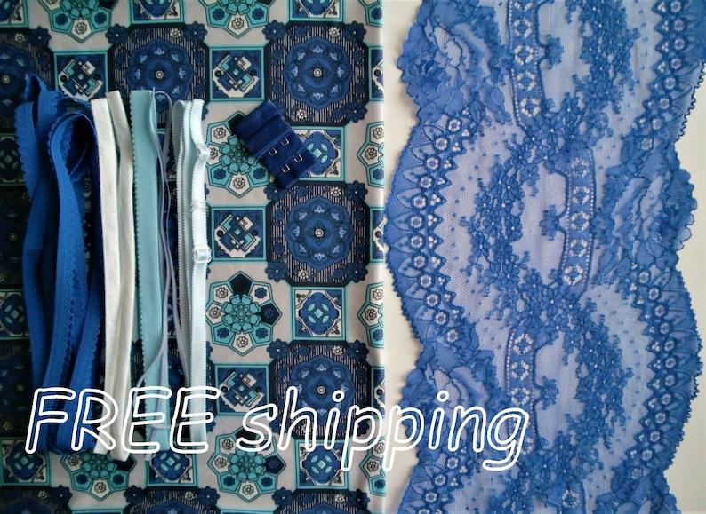 Panty FREE Shipping by Merckwaerdigh LINGERIE Kit Blue Tiles /& Cobalt Lace for 1 BRA